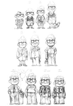 Pixar UP - Carl's stages of growing up/older