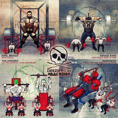 back exercises: khal drogo rack pulls, bane high pulls, joker lat pulldowns, daredevil pulldowns