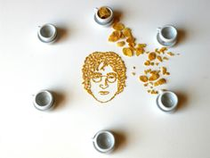 The inspiration for the series came one morning when Rosado was eating Corn Flakes and listening to John Lennon. She thought it may be interesting to recreate his face out of the cereal. And it definitely is.
