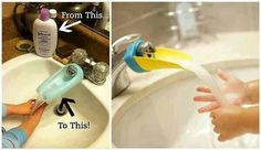 Tap extension from old lotion bottle for kids
