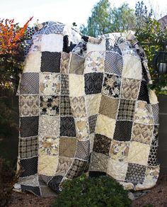 RAG Quilt, Queen Size, Neutral Tones, Black, Cream, Tan and Grey, Floral, Handmade, All NATURAL, 100% Cotton, Designer Fabrics. $310.00, via Etsy.