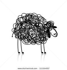 Funny black sheep, sketch for your design by Kudryashka, via ShutterStock
