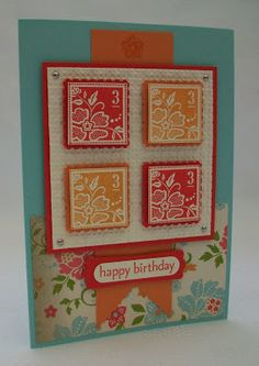 handmade card from Stamping Moments: Fresh Vintage... panel with four inchies matted with postage stamp punch mats ... lgreat colors ...