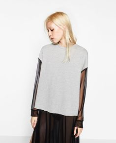 Image 2 of SPORTS SWEATSHIRT WITH TULLE SLEEVES from Zara