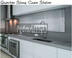 cozinha bancada quartoz stone cinza stellar silestone