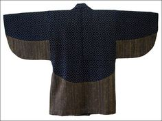 Back Wonderful Hand-Made Kakinohanazashi (persimmon flower stitch) Sashiko Jacket, Note rows of tight sashiko stitching at waist and bottom of sleeves. Fully Lined.  All cotton, Home Spun, Hand Loomed  Indigo vegetable dyes.  Fine example of Japanese folk textile!   Age Late 1800s to early 1900s  From Mt Fuji area