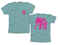 Alabama Elephant on seafoam pocket tshirt