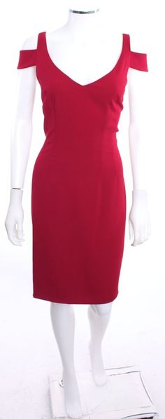 NWT JAY GODFREY DEEP V NECKLINE SHOLDER CUT OUTS DEEP RED SHEATH DRESS SZ 12  #JayGodfrey #Sheath