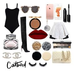 """""""Untitled #85"""" by caroline-ludwig37 on Polyvore featuring Too Faced Cosmetics, Balmain, Baguette....., Bobbi Brown Cosmetics, Jin Soon, Chanel, Gucci, Illesteva, women's clothing and women"""