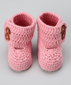 Take a look at this Pink Crocheted Boot by Knitoes & Co. on #zulily today!