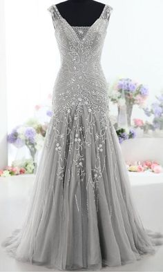 2017 Custom Made Pretty Gray Long Mermaid Beading Prom Dresses ,Charming V-Neck Evening Dresses,Party Prom Dresses