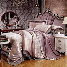 Puce and Champagne Tribal Pattern Moroccan Style Royal Theme Luxury Lace Edge Jacquard Design Full, Queen Size Bedding Sets