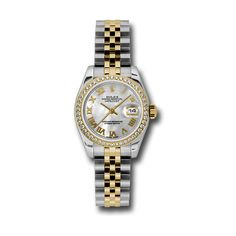 Rolex Lady Datejust Mother of Pearl Dial Automatic Watch ($16,250) ❤ liked on Polyvore featuring jewelry, watches, 18k watches, water resistant watches, dial watches, 18k jewelry and rolex watches