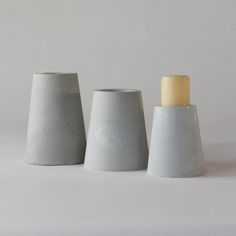 EC70 CONCRETE CANDLE HOLDERS SET/3 ↔12.0/11.0/10.0cm ↑17.0/15.0/12.0cm. Grey matte concrete candle holders. High quality handmade objects Designed+Made by Decovery | Essential Details.