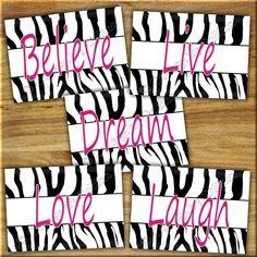 Pink ZEBRA Print Wall Art Girl Teen Bedroom by collagebycollins, Black Pink White, inspirational,  ZEBRA Print Wall Art Girls Room Decor Quotes  Inspirational Motivational   Teen Art Girls Room Nursery  believe love live laugh dream