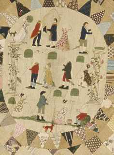Detail of patchwork coverlet made in England 1790-1810.