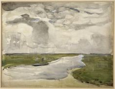 Meandering Landscape with River - Piet Mondrian http://paintwatercolorcreate.blogspot.com/2014/04/watercolors-cloudy-days-starry-nights.html