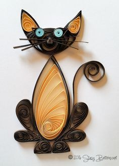 Quilled Seal Point Cat #quilling #cat #siamese