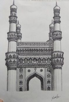 Charminar hyderabad,india drawing pen and pencil on paper Architecture Drawing Sketchbooks, Landscape Architecture Drawing, Landscape Drawings, Pencil Sketches Architecture, Rome Architecture, Bauhaus Architecture, Indian Architecture, Japanese Architecture, Futuristic Architecture