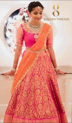 Half Saree Lehenga, Lehenga Style, Lehnga Dress, Indian Lehenga, Anarkali, Bandhani Dress, Banarasi Lehenga, Kids Lehenga, Half Saree Designs