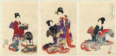 Chikanobu (1838-1912) | Japanese Woodblock Print Beauty Dressing Series, Inner Chiyoda Palace (Chiyoda no Ooku)