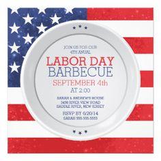 Patriotic #Flag #LaborDay Summer Barbecue Party 5.25x5.25 Square Paper Invitation Card