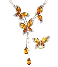 Lorenzo citrine butterfly jewelry suite