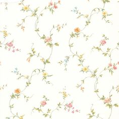 Delicate and happy, this floral trail wallpaper evokes a country-chic vintage charm in graceful hues of pink and yellow. If the classics are more your thing, then this traditional style wallpaper is just for your, featuring a floral trail design, it Wallpaper Stores, Wallpaper Samples, Print Wallpaper, Disney Wallpaper, White Wallpaper, Wallpaper Backgrounds, Damask Curtains, Brewster Wallpaper, Victorian Wallpaper