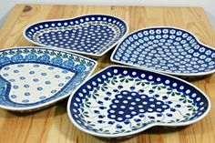 You can use those heart-shaped plates instead of classic trays! Polish pottery