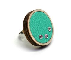 Turquoise wood ring, fabric ring, ring, summer jewelry, wooden ring, ring with glass beads, wooden jewelry, turquoise ring, wooden jewelry by AndreaMacsarJewelry on Etsy Wooden Jewelry, Unique Jewelry, Wood Rings, Summer Jewelry, Glass Beads, Cufflinks, Coin Purse, Turquoise, Ring Ring