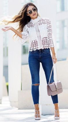 perfect outfit: lacer top + rips + heels + bag