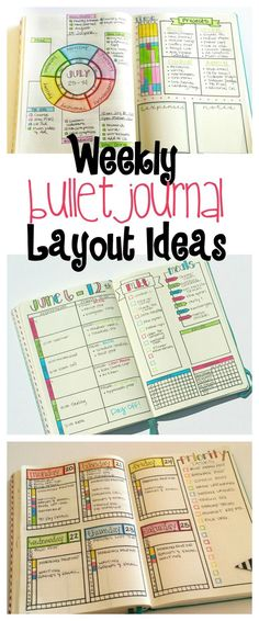 Bullet journal inspiration colourful and creative weekly pages layouts.