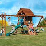Layout Idea -- Kid's Creations Two Ring Adventure Premium Redwood Playset - Installation Included or Do It Yourself