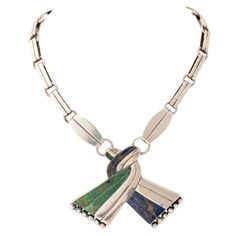Necklace | William Spratling.  Sterling silver and Malachite.  ca. 1940s.