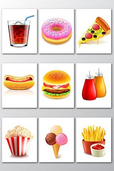 Realistic and realistic fast food pattern Healthy Food Activities For Preschool, Preschool Projects, Healthy And Unhealthy Food, Unhealthy Diet, Food Pyramid Kids, Food Flashcards, Baby Gift Wrapping, Thumbprint Cookies Recipe, Food Patterns
