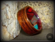 """Bentwood Ring - """"Mosaic Shapes"""" Cocobolo on Acrylic Marbled Core"""