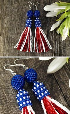 USA design tassel earrings are perfect for the 4th of July to show  everybody how patriotic you are