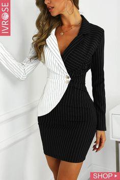 f9cdf4949b1 Shop Contrast Color Striped Insert Blazer Dress – Discover sexy women  fashion at IVRose