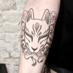 Kitsune Mask for Neele 🦊 please swipe for more pictures .… Kitsune Mask for Neele 🦊 please swipe for more pictures . Small Japanese Tattoo, Japanese Mask Tattoo, Japanese Fox Mask, Japanese Tattoo Symbols, Asian Tattoos, Leg Tattoos, Body Art Tattoos, Tattoos For Guys, Sleeve Tattoos