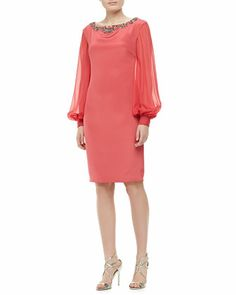 Long-Sleeve Jeweled Cocktail Dress by Notte by Marchesa at Neiman Marcus. Make your own beauty with coral satin back crepe and coral chiffon from smfabric.com