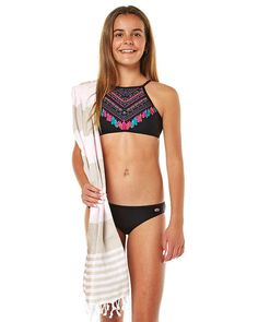 RIP CURL KIDS GIRLS BOHEMIAN CROP BIKINI - BLACK