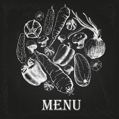 restaurant menu with vegetables on the chalkboard Stock Vector