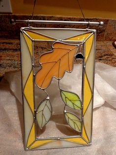 Stained Glass Fall Leaves Window Sun Catcher New | eBay