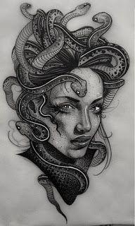 TATTOOS IDEIAS - PARA AMANTES DA ARTE DA TATUAGEM: +70 DESIGNS DE TATUAGEM MEDUSA - TATTOO IDEIAS Medusa Tattoo Design, Sketch Tattoo Design, Tattoo Sketches, Tattoo Drawings, Tattoo Designs, Tattoos 3d, Body Art Tattoos, Sleeve Tattoos, Medusa Drawing