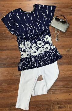 Navy print tunic