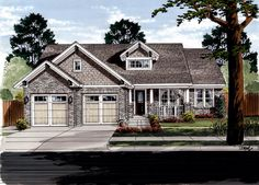House Plan 50088 | Craftsman    Plan with 1818 Sq. Ft., 3 Bedrooms, 2 Bathrooms, 2 Car Garage
