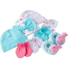 Gerber Newborn Baby Girl 8-Piece Caps, Mittens and Booties Accessory Baby Shower Gift Set