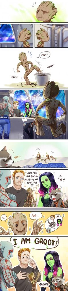 Baby Groot←Peter looks so pround! And Rocket may feel like his toddler just learned to talk :)