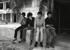 Ringo Starr, John Lennon, Paul McCartney and George Harrison during a break filming 'Help!' in the Bahamas in 1965