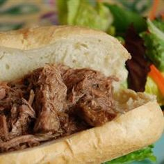 Slow Cooker Italian Beef for Sandwiches  paired with a glass of Zinfandel.